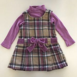 Blueberi Boulevard Lavender Plaid Jumper Dress